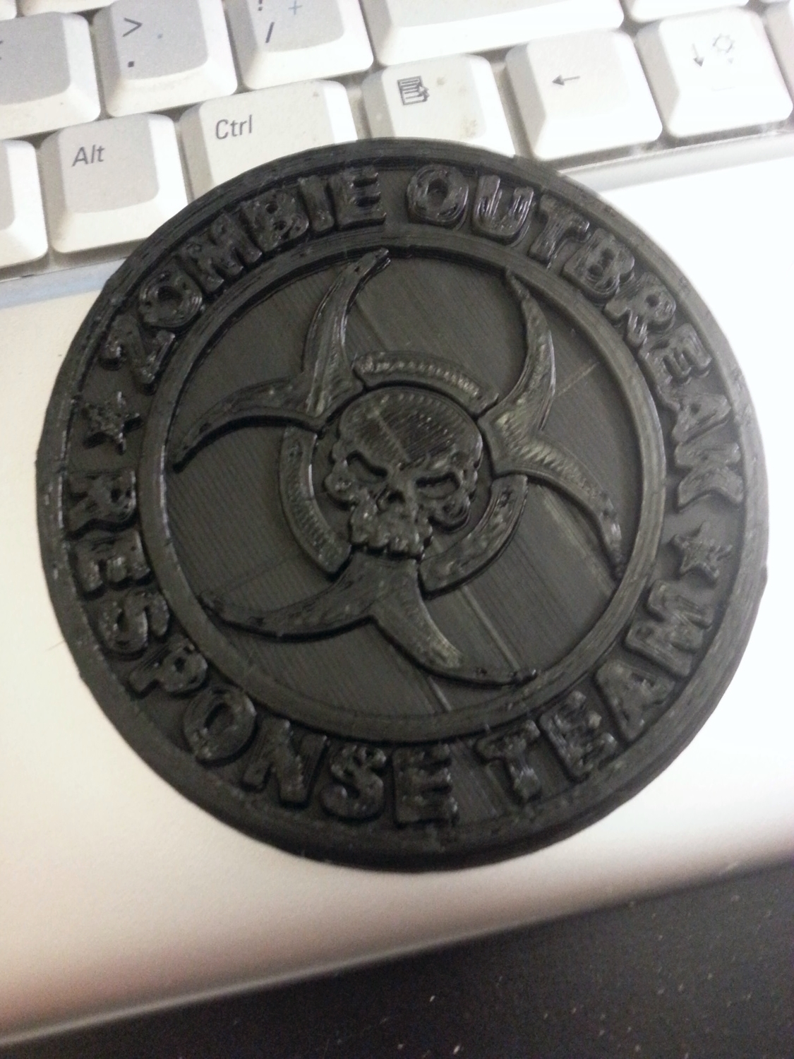 Zombie Outbreak Coaster   Printrbot Simple - 0.25mm layers - Black PLA
