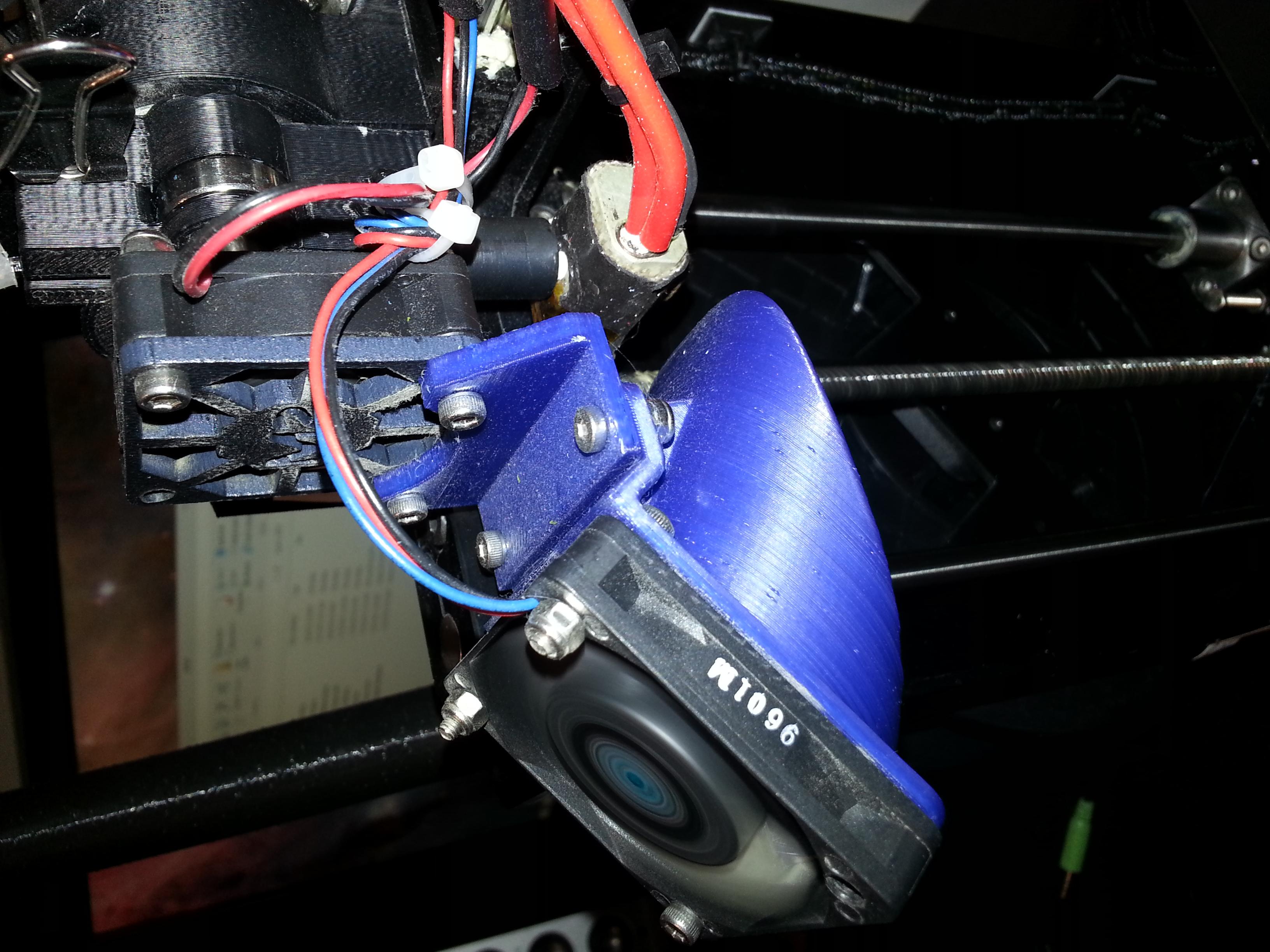MakerGear M2 Fan Duct & Bracket   MakerGear M2 - 0.2mm layers - Blue PLA
