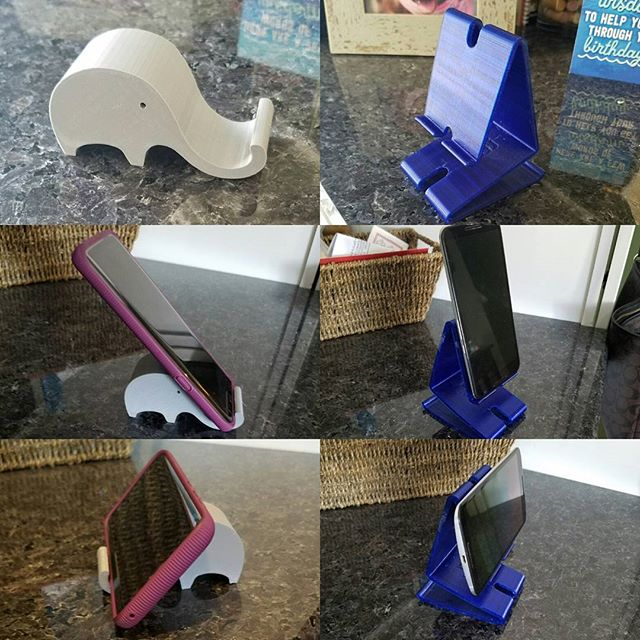 Just a couple #3dprinted phone holders for fun #3p3d #chicago #3dprinter #3dprinting #functionalprint #trinkets #elephant #cellphone #cellphonestand