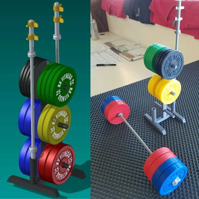 A custom mini 3Dprinted desktop #olympic #barbell set for #CrossfitSeverance modeled true to size using #autodeskinventor and #3dprinted using #PLA and #makergearm2 #3p3d #chicago #desktopmanufacturing #functionalprint #3dmodeling #3dprinter #bumperplates #crossfit # weightlifting #olympiclifting #olympicweightlifting #toys #rxfitness #technologyisawesome #technologyisawesome