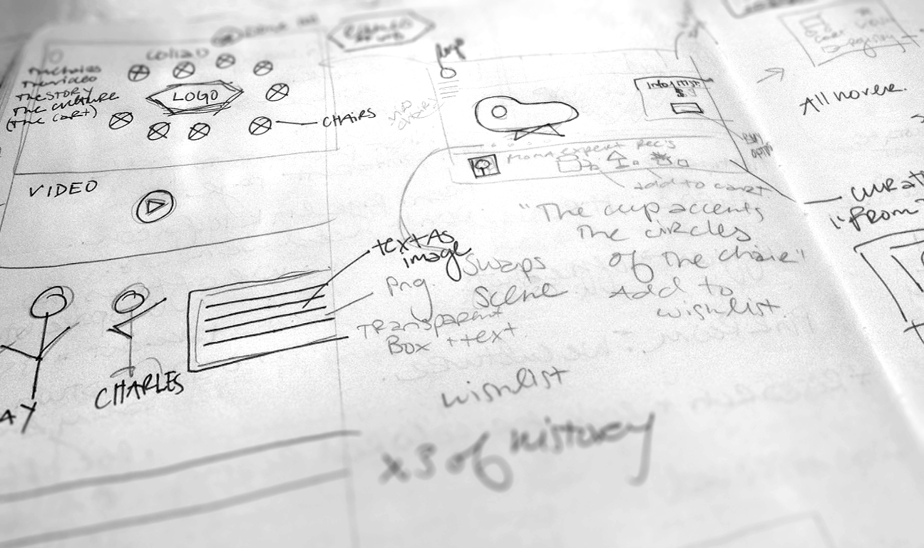 Early wireframe sketch