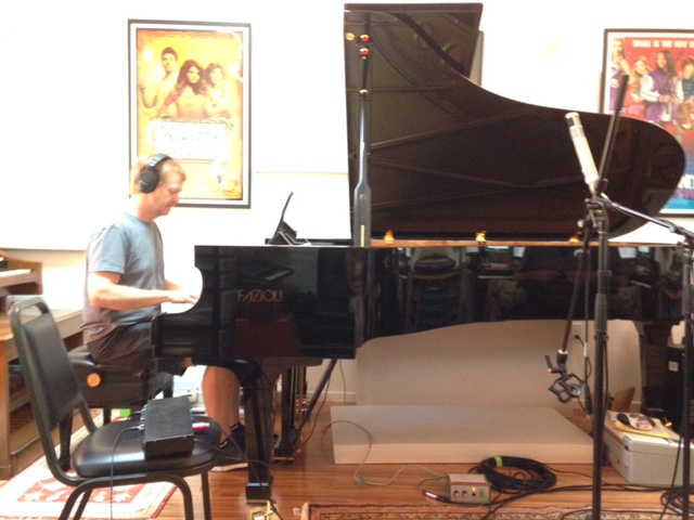 Dave recording piano.  The piano is Kenny Burgomaster's Fazioli.  What an incredible instrument!