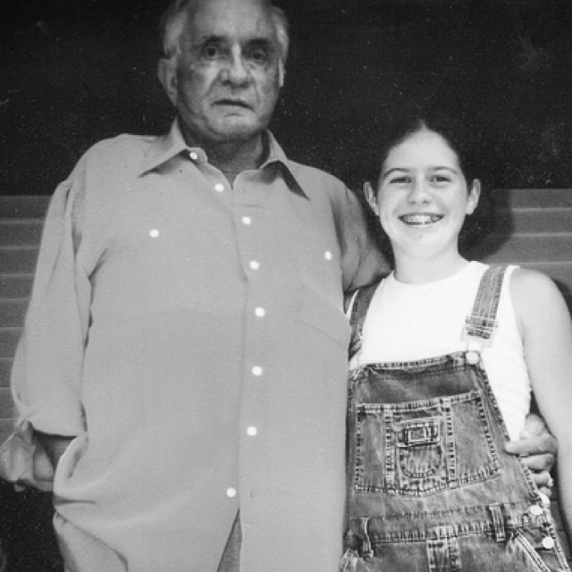 Anne hanging out with cousin-in-law Johnny Cash on the front porch of his Hiltons, VA cabin in June 2002