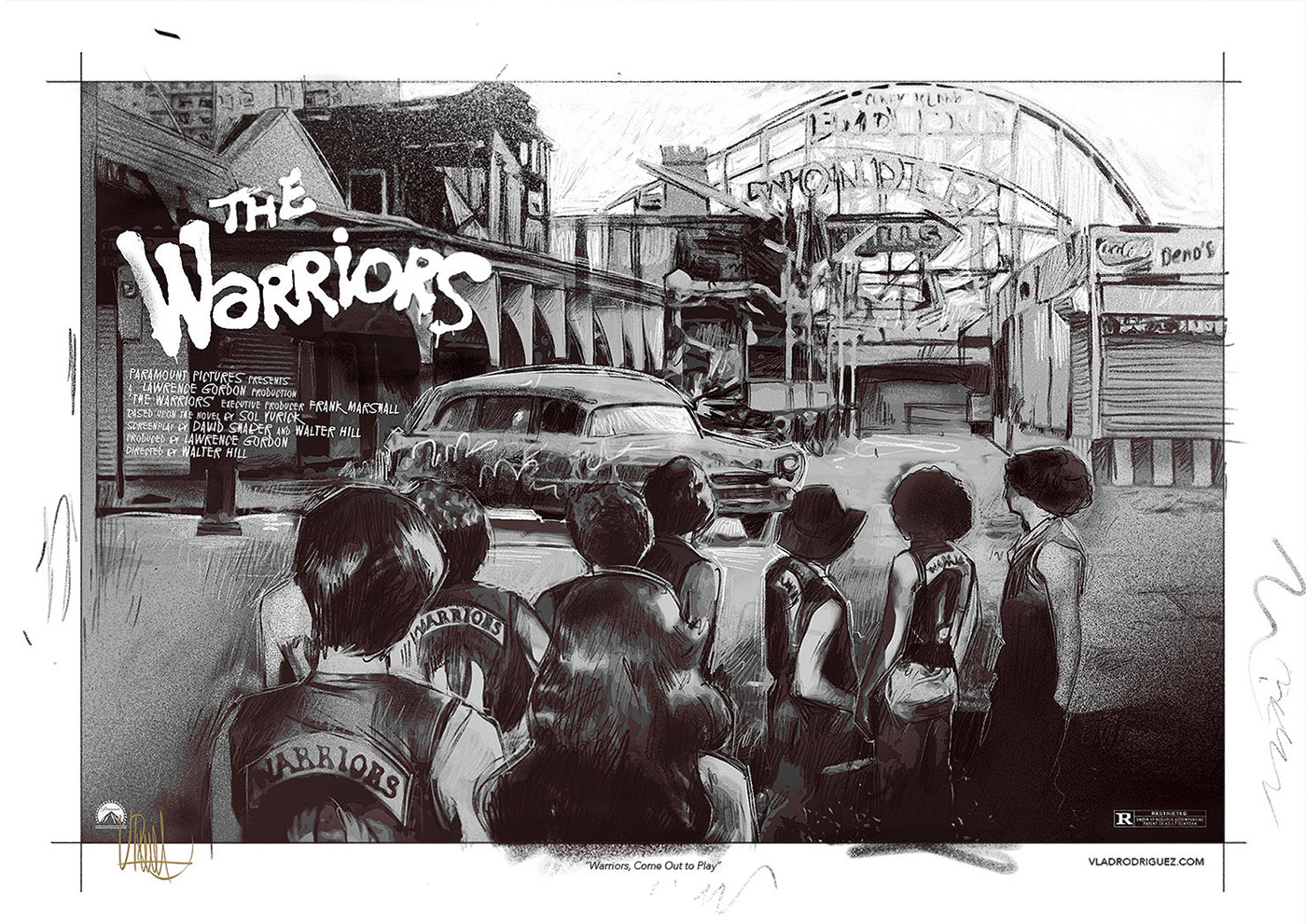 """Unused Concept (View of the street) """"We Figure We're Home"""" Inspired by 'The Warrios' Film (1,979)"""