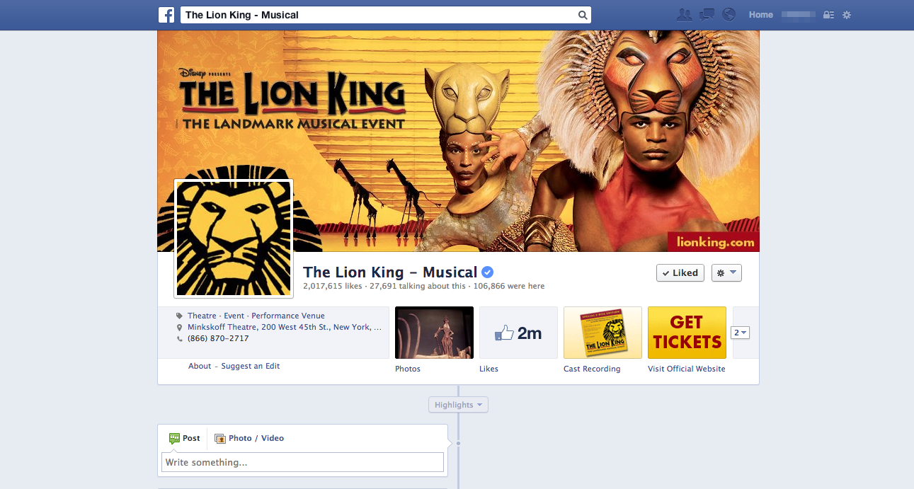 As part of redesigning their Facebook presence, my cover photo for The Lion King attracted over a thousand 'likes' overnight. Since 2012, the number of Facebook subscribers has doubled from 1 to 2 million.