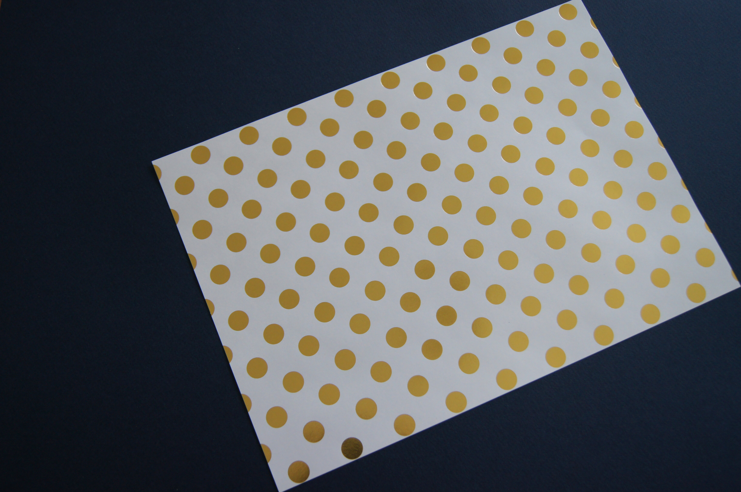 I chose these two options -the gold polka dots came in a pack and the navy card was in those project size sheets. The thickness is a bit more than standard paper but not so thick that its hard to fold. I like having a bit of thickness as it gives the envelopes a more luxurious feel.