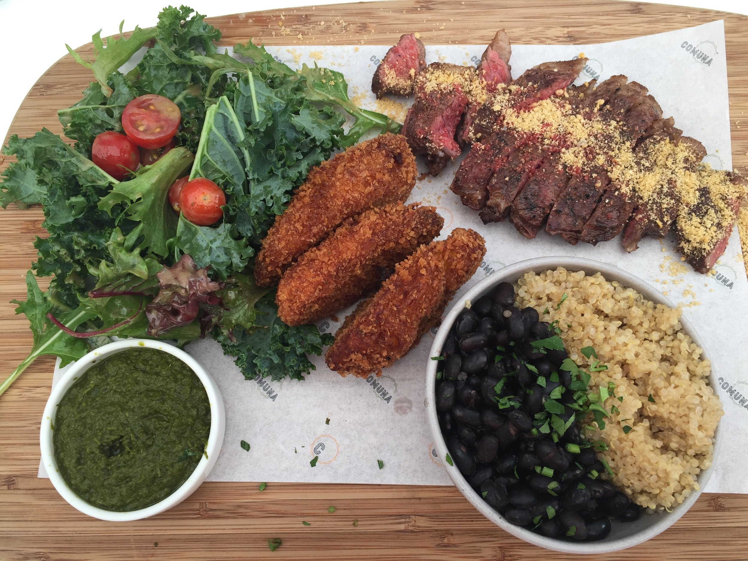 CHURRASCO - Picanha; char grilled steak, quinoa, black beans, fried banana, salad, chimichurri