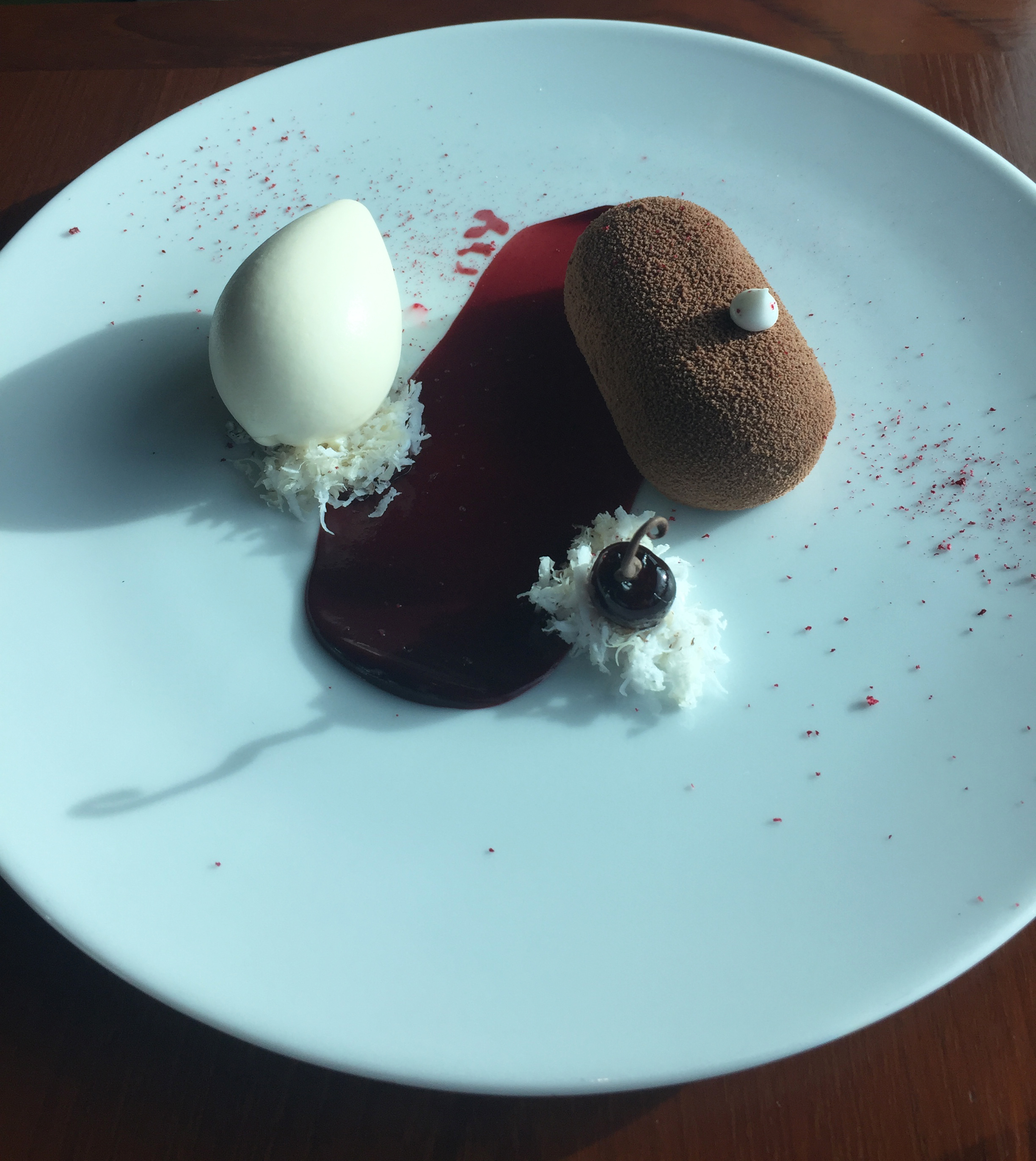 DESSERT - Cherry Isle Bar (c.1650): Chocolate, coconut, 'ripe cherry', almond and bay leaf ice cream