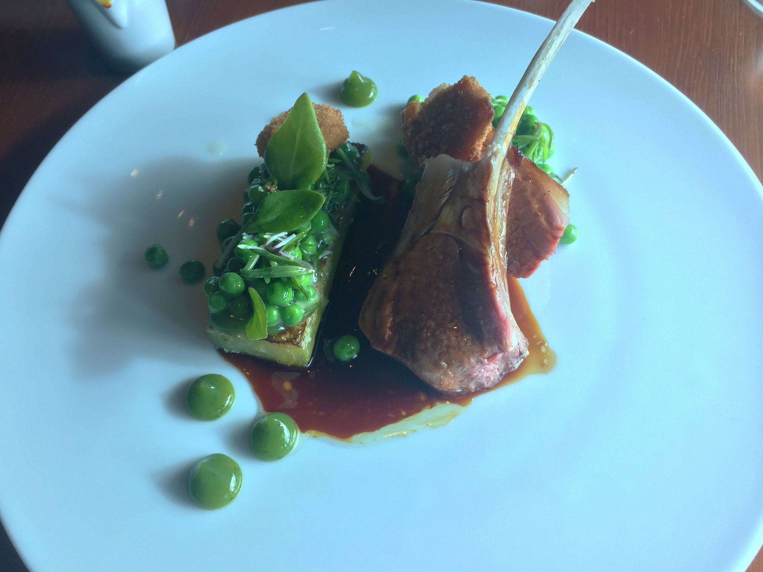 MAIN - Lamb and Cucumber (c.1830): Best end of lamb with roast cucumber heart, sweetbreads, peas, barilla and mint
