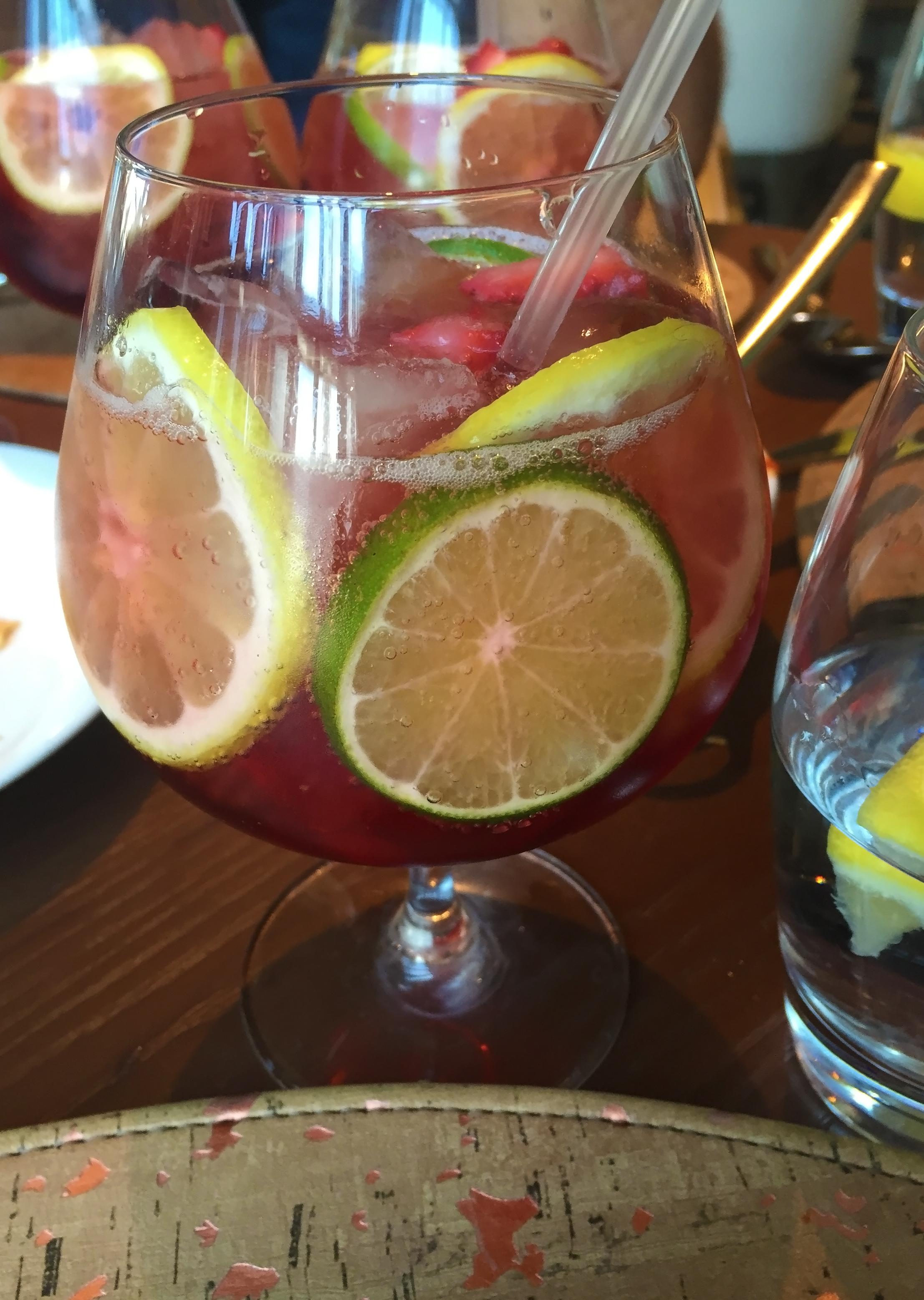 Giada's Sangria: Choice of Prosecco or Brachetto d'Acqui - fresh lemon, lime, strawberries, mojito mint syrup