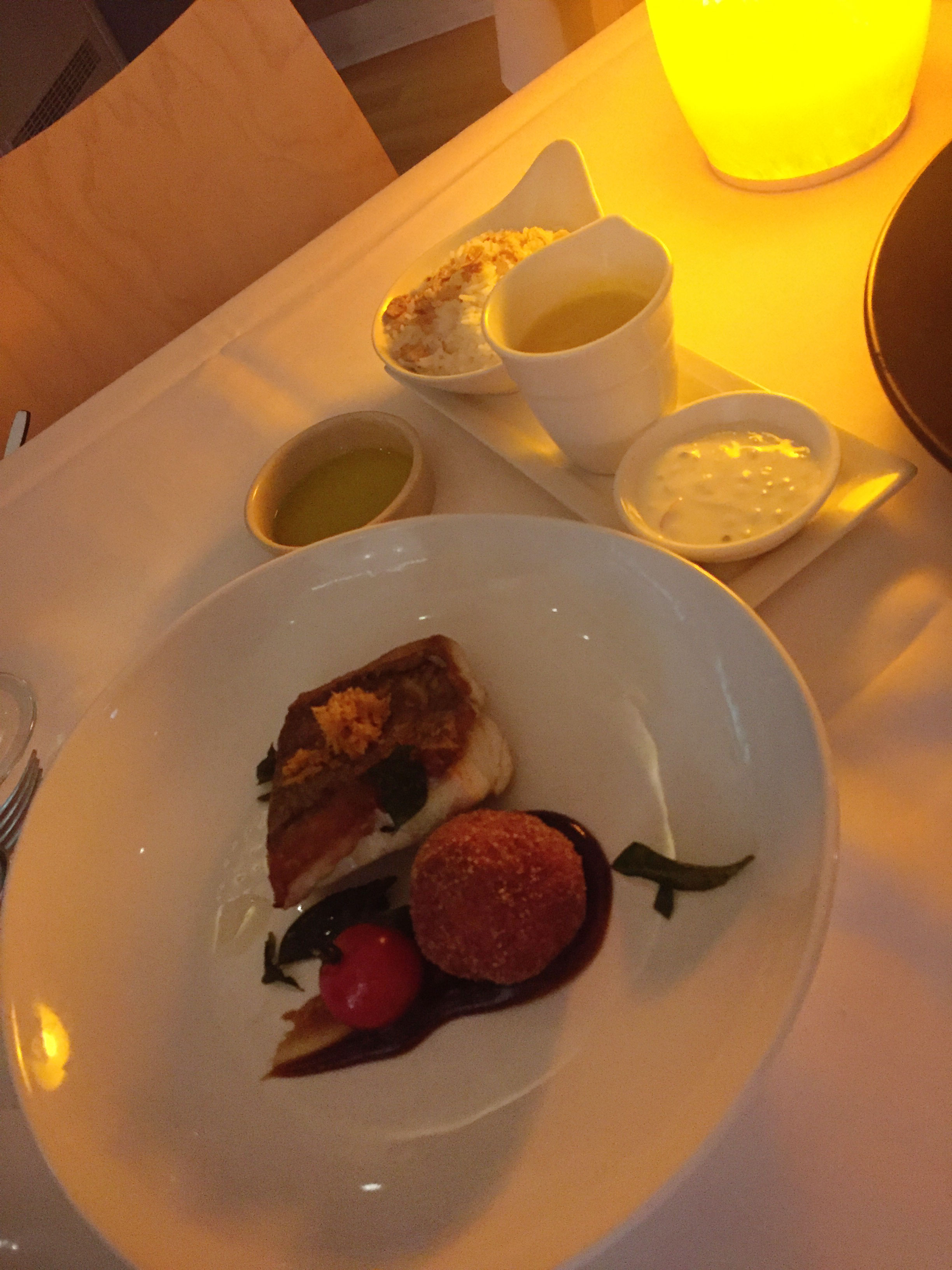 Noosa Beach House Peter Kuruvita Restaurant : Sri Lankan Snapper Curry with tamarind, aloo chop, steamed rice