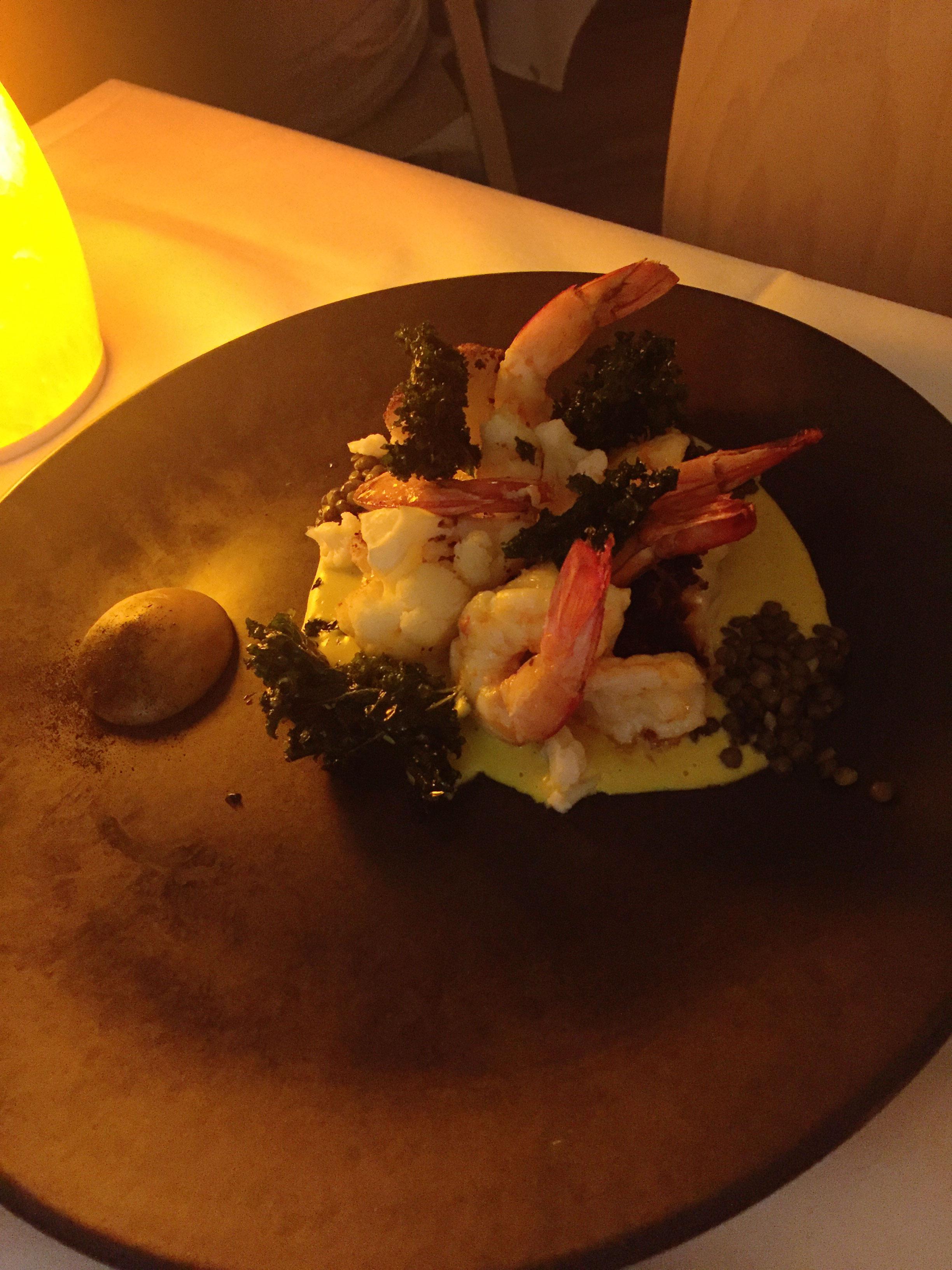 Noosa Beach House Peter Kuruvita Restaurant : Mooloolaba Prawns with smoked jaffna curry, coconut dahl, roasted cauliflower