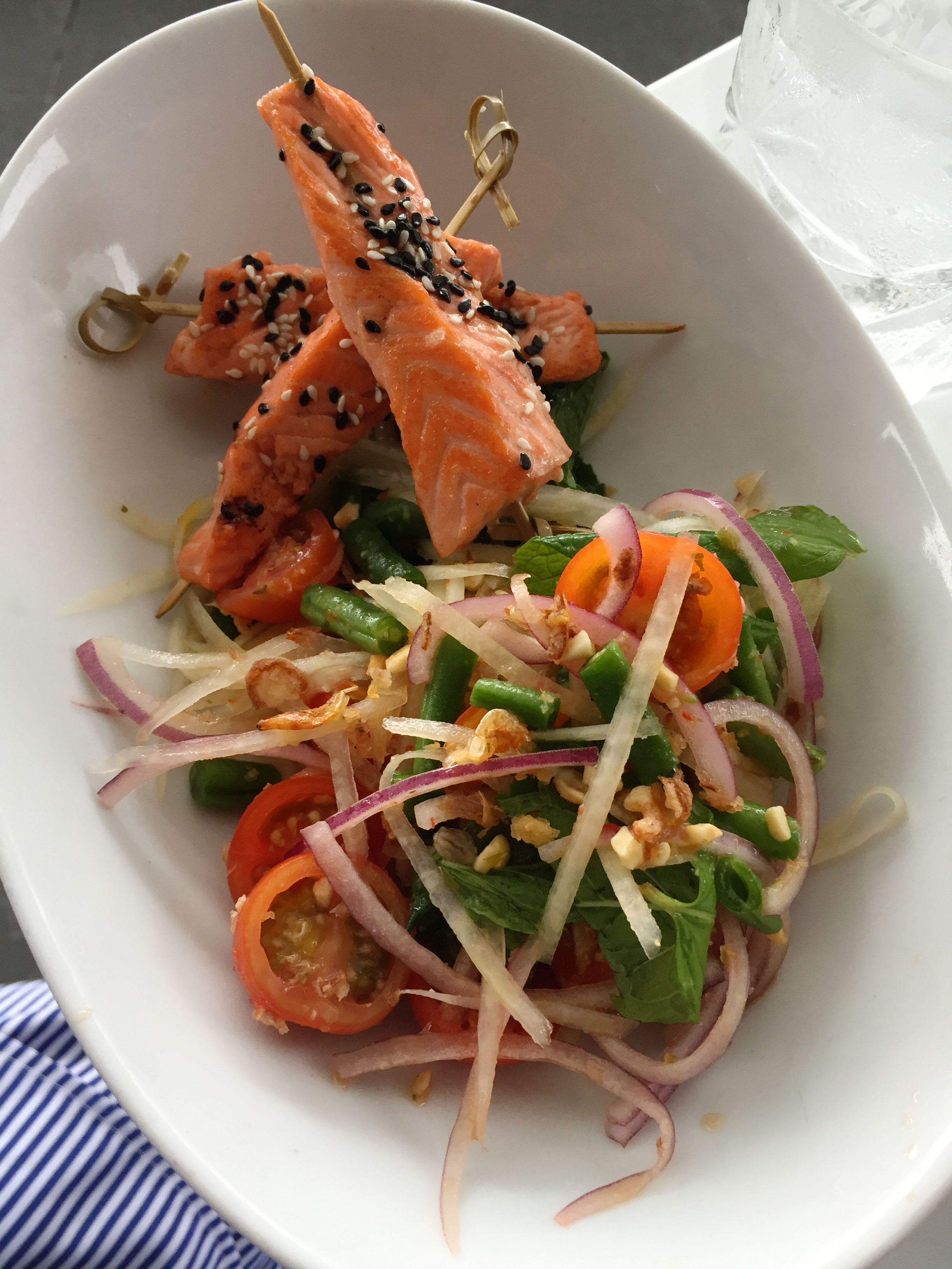 Riviera Bar and Lounge:  Salmon Skewers with a Thai salad