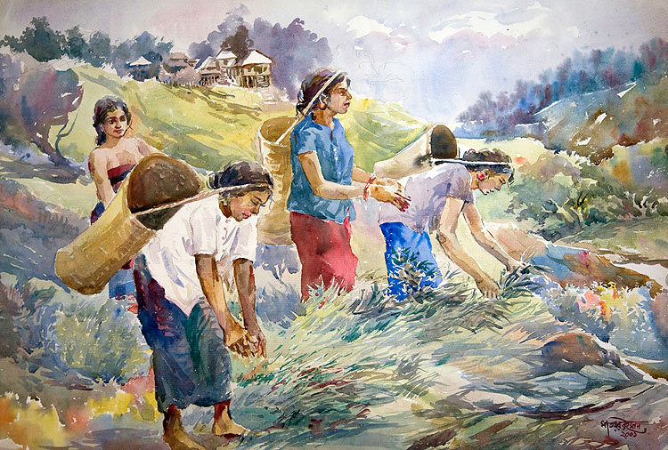 "Workers at Paddy field    24"" X 36"" US$ 350.00 + shipping & handling"