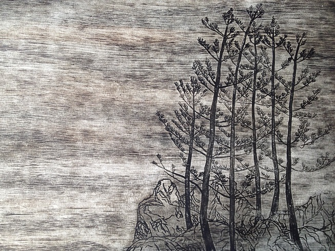 Wood cut print, Robyn Mackay