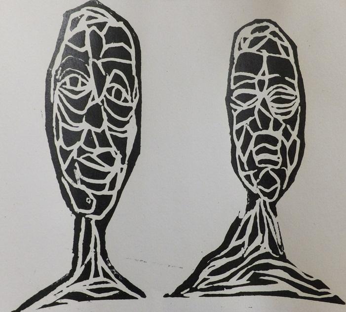 'Family Portrait 2' Lino cut, Rachel Kirby