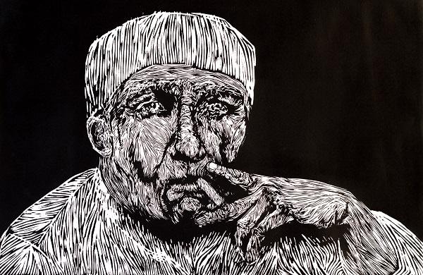 'Man Three' Lino cut, Keren Zorn