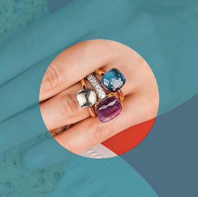 POMELLATO NUDO RINGS IN VARIOUS SIZES. PRASIOLITE AND LONDON BLUE TOPAZ APPEARS WITH NUDO WITH DIAMONDS IN AMETHYST