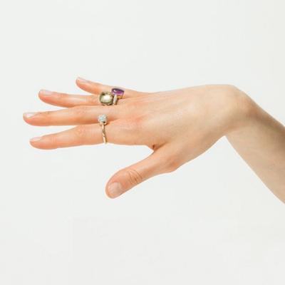 POMELLATO NUDO SOLITAIRE WITH DIAMONDS. NUDO WITH DIAMONDS IN AMETHYST AND NUDO IN PRASIOLITE