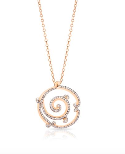 Rococo pavé diamond rose gold pendant