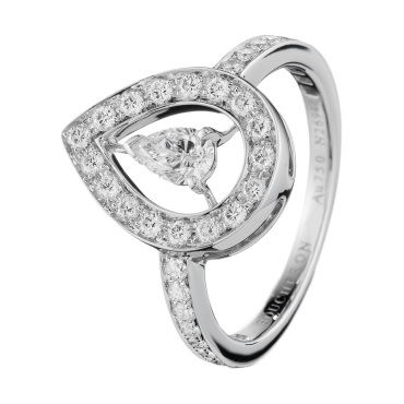 AVA PEAR RING - Ring set with a pear-cut diamond and pavé round diamonds, in white gold