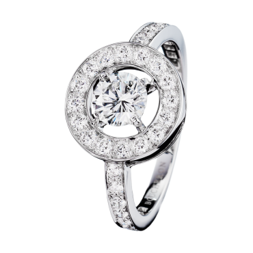 AVA ROUND RING - Ring set with a round diamond and pavé diamonds, in white gold