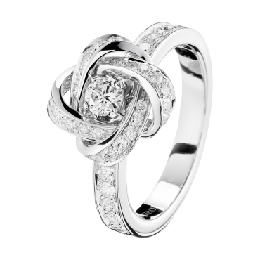 PIVOINE RING - Ring set with a round diamond and pavé diamonds, in white gold