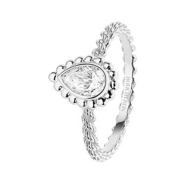 SERPENT BOHÈME GOLD BEADS SOLITAIRE - Solitaire set with a pear-shaped diamond in white gold.
