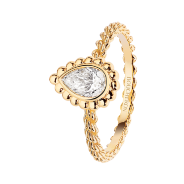 SERPENT BOHÈME GOLD BEADS SOLITAIRE - Solitaire set with a pear-shaped diamond in yellow gold