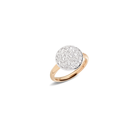 SABBIA RING - Ring in rose gold with rhodium-plated rose gold pavé and diamonds