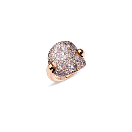 SABBIA RING - Ring in rhodium-plated and burnished rose gold, brown and white diamonds