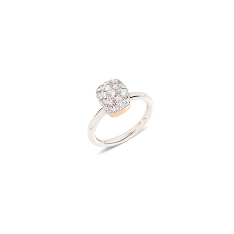 NUDO RING - Ring in white gold & rose gold with pavé diamonds