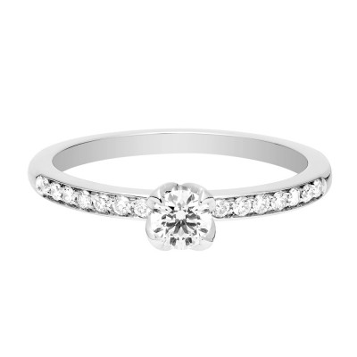 DELPHINE RING - Delphine platinum paved engagement ring with a white diamond