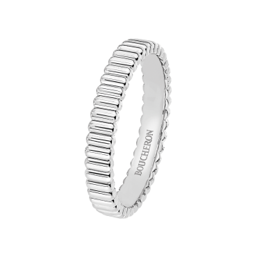 GROSGRAIN WHITE GOLD WEDDING BAND - Band in white gold