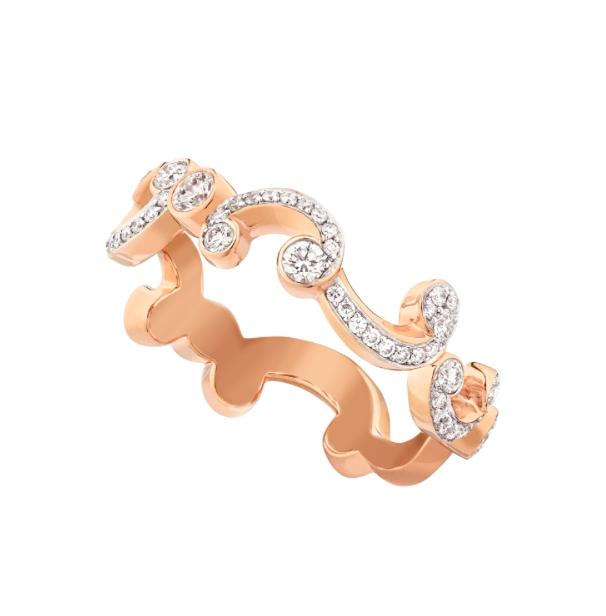 ROCOCO PAVÉ DIAMOND ROSE GOLD THIN RING - Pavé diamond rose gold ring features round white diamonds