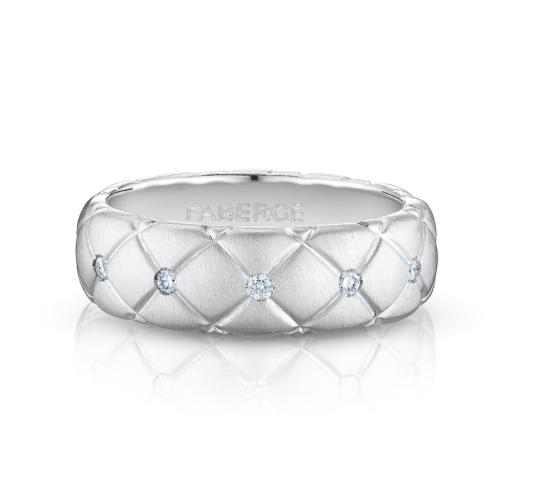 TREILLAGE DIAMOND WHITE GOLD THIN RING - Brushed white gold ring features round white diamonds