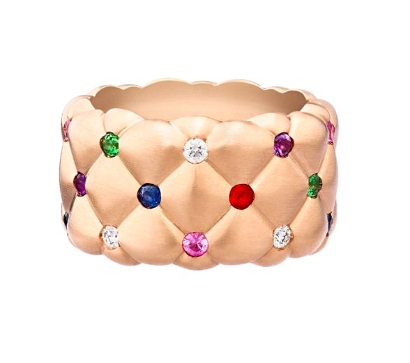 Treillage Multi-Coloured Rose Gold Matte Wide Ring