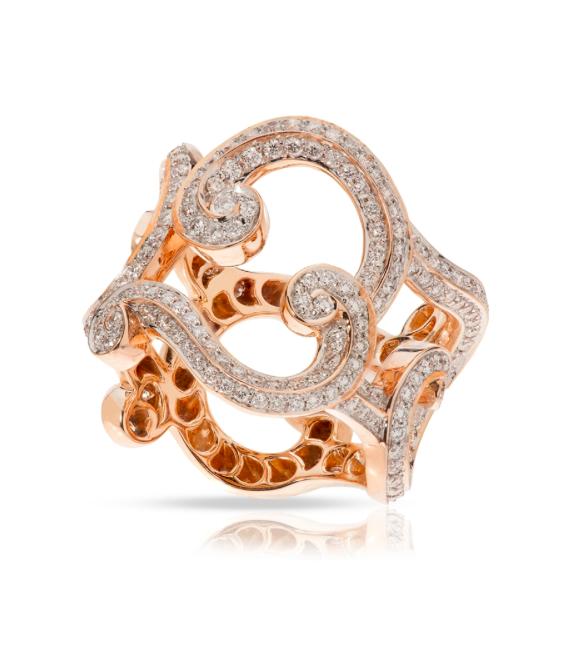 Rococo Lace Diamond Rose Gold Ring