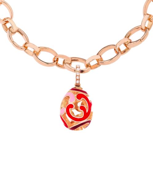 Rococo Rose Enamel Rose Gold Charm