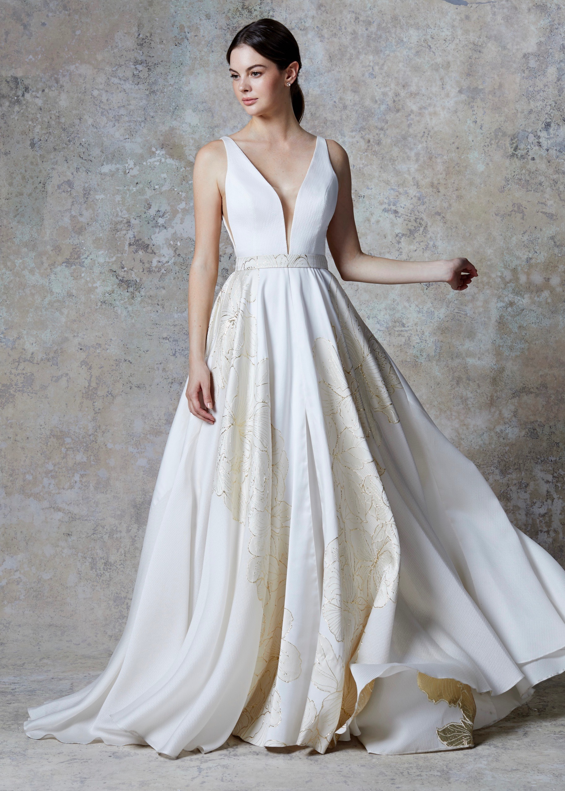 ORIANNA DRESS (IVORY-GOLD)