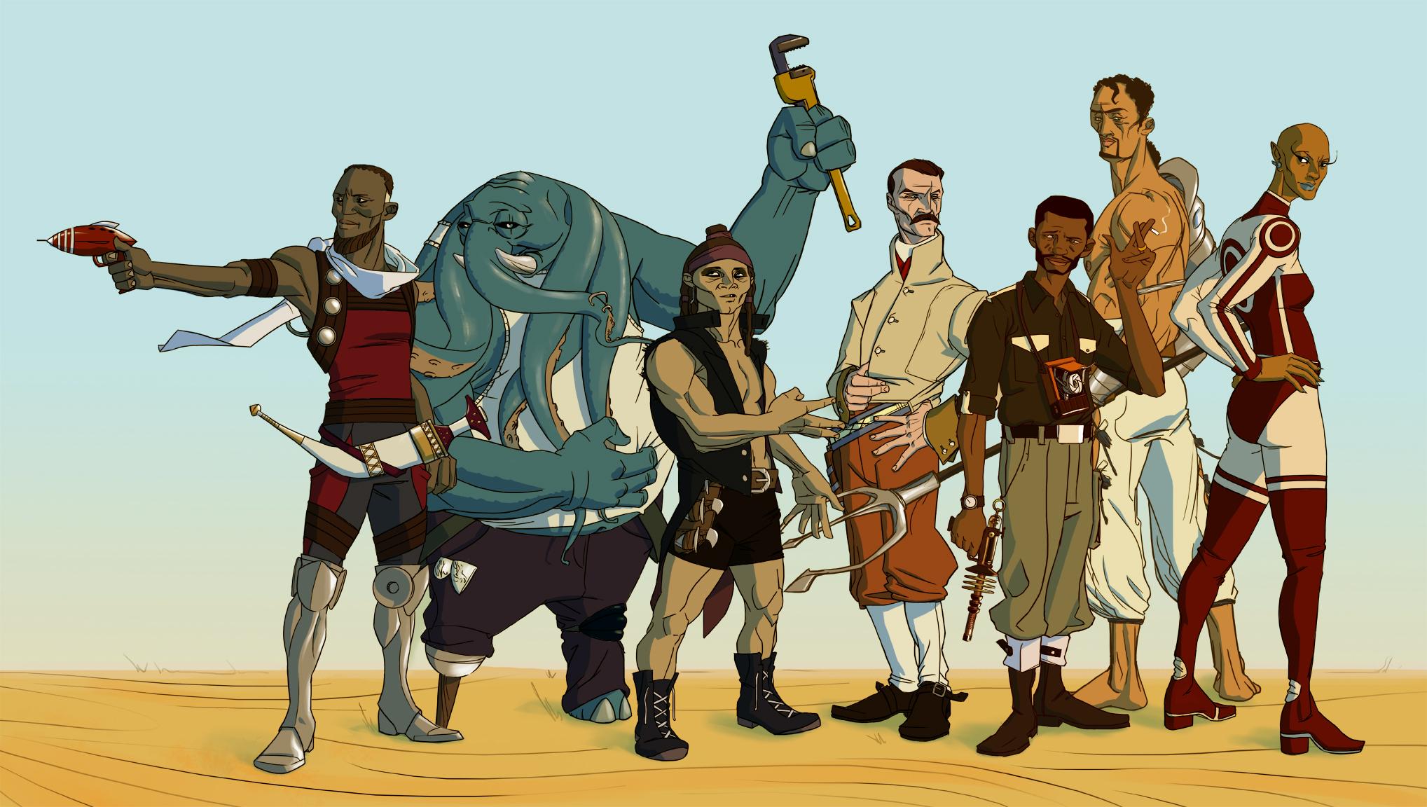 The Jupiter Jonah cast, from left to right; Denarii, Blass, Rashidi, Stein, Jonah, Prospero, and Funlola - Art by Shof