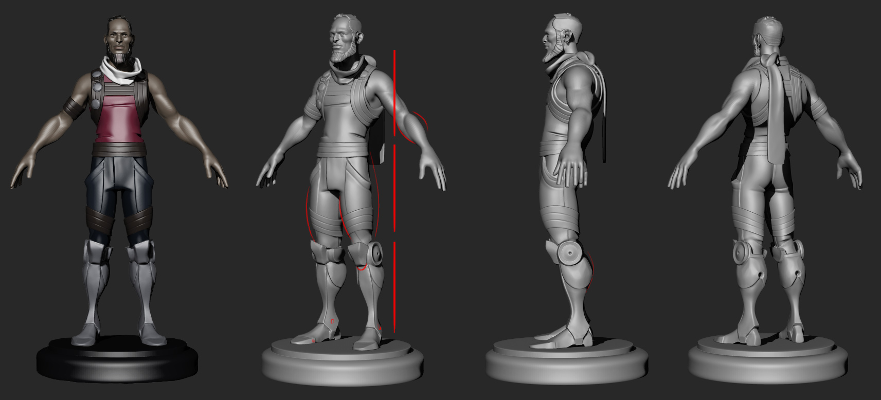 Shof's first pass at Denarii looked great at the time. In retrospect it lacks the definition and sense of contained power that's emblematic of the character. You can see his red sketch lines as he tries to figure out how to bring some of that to the model.