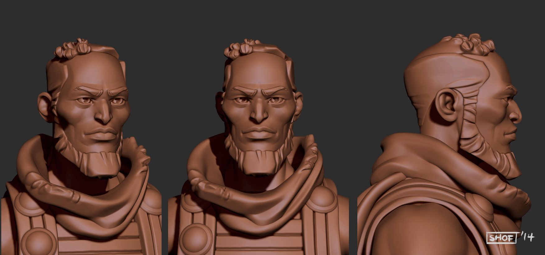 Sending a test sculpt to the 3D printer gave Shof an idea of what areas needed to be given exaggerated detail in order to hold up once printed using a physical material like resin or plastic. You might notice that every aspect of the model is a lot more defined than the previous render.