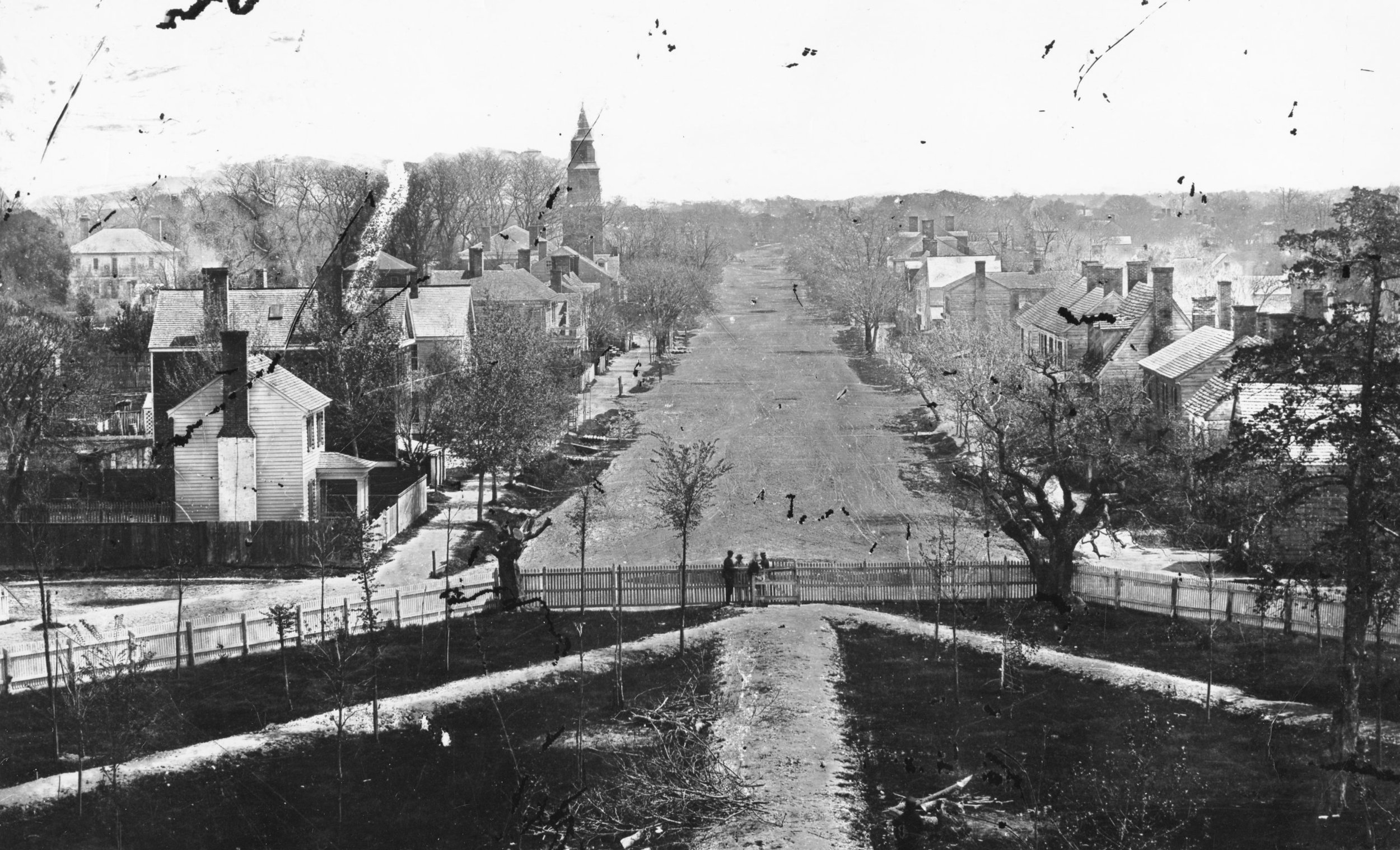 View from the College of William and Mary looking east on Main Street (present Duke of Gloucester Street), ca. 1870
