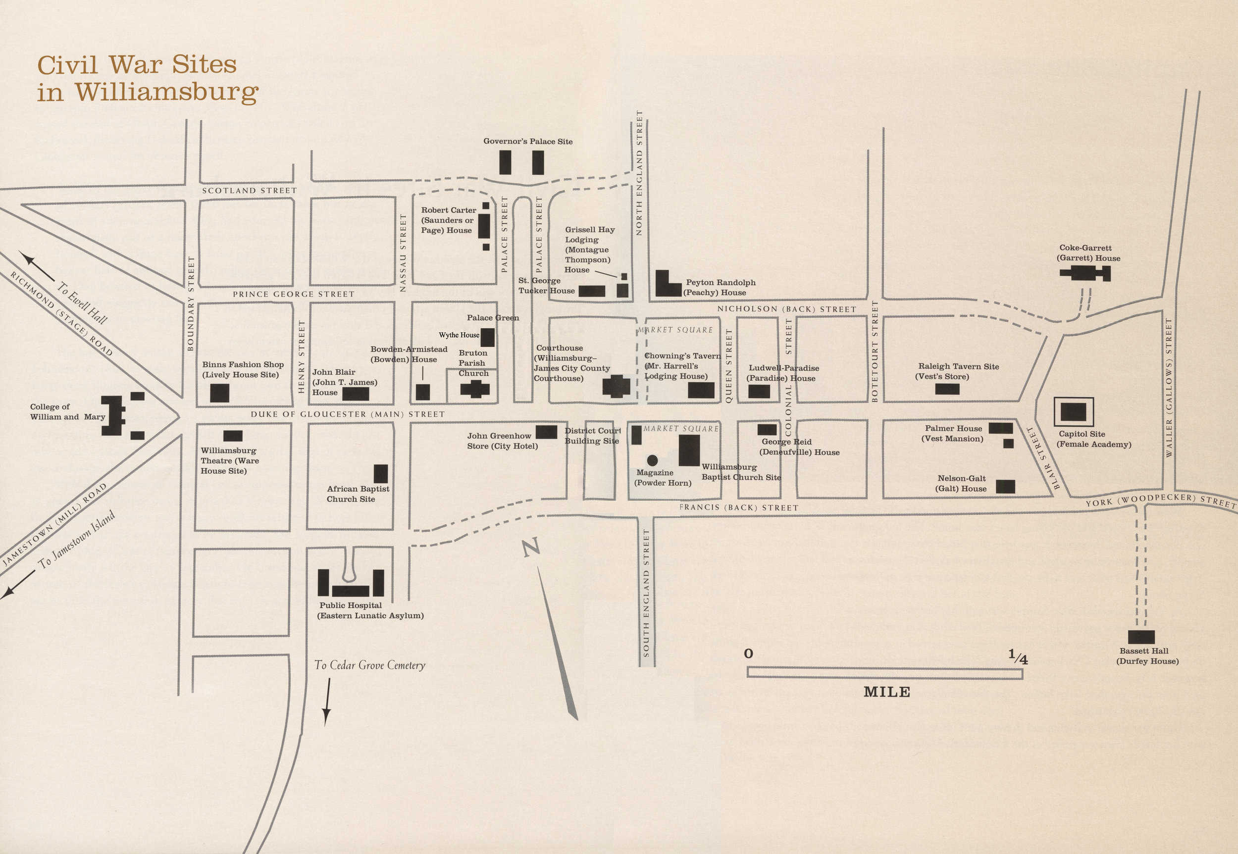 Map from  Civil War Williamsburg  by Carson O. Hudson, Jr., published 1997 by and used with the permission of The Colonial Williamsburg Foundation (Contemporary names provided with 19th century equivalents in parenthesis)
