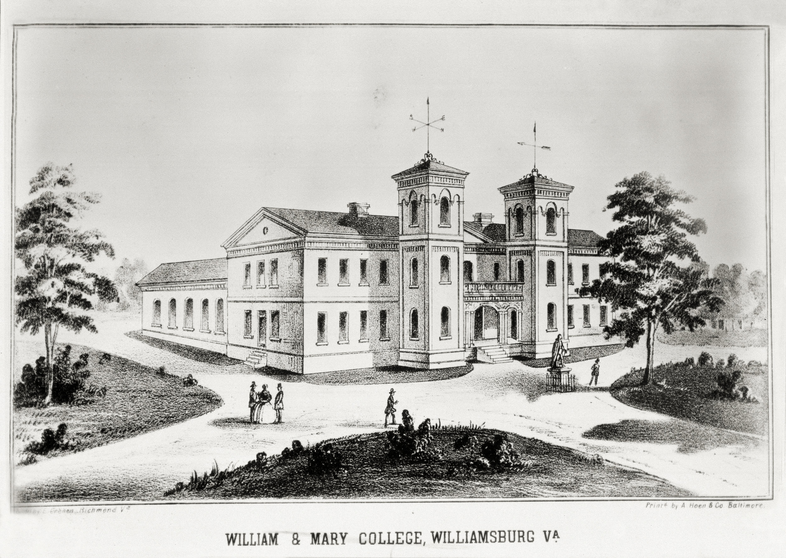 Lithograph of the third Wren Building, ca. 1859-1862