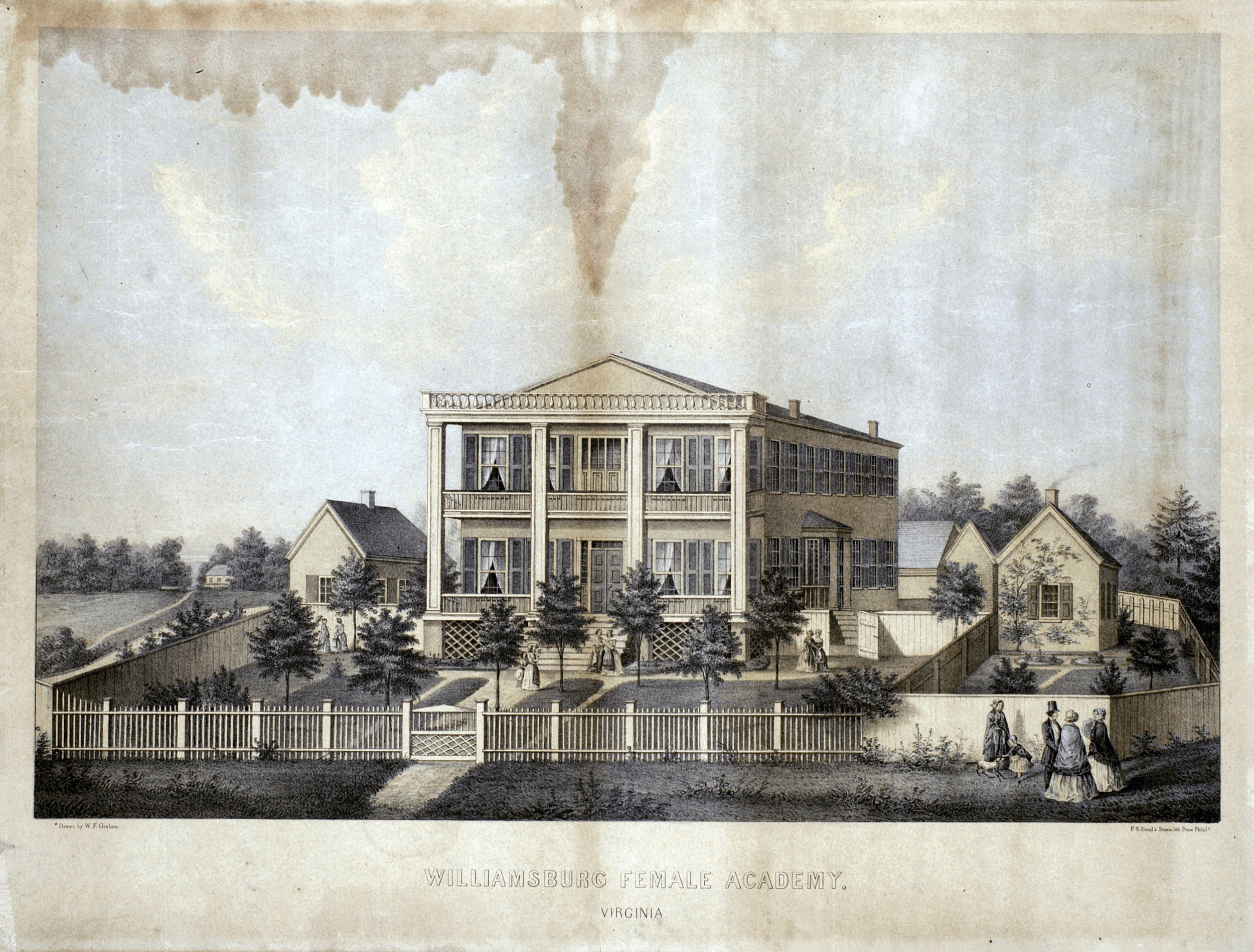 19th century lithograph of the Female Academy