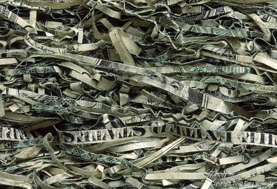 Paper money is shredded to be recycled at the Crane Paper factory in Dalton, Massachusetts.