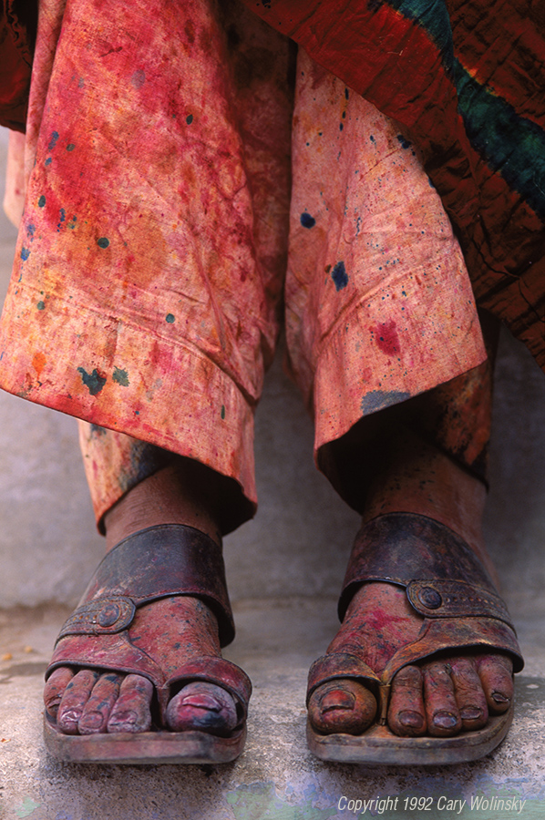 The well worn feet of a cotton dyer in Kutch, India.