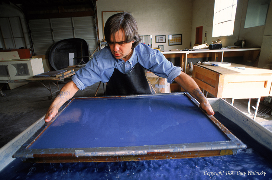 Stephan Watson creating handmade paper from recycled blue jean cotton fiber in New Mexico.